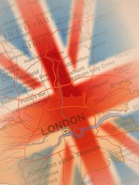 Map Highlighting London and British Flag by Carol & Mike Werner