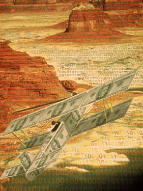 Money Plane Flying Over Landscape with Binary Code by Carol & Mike Werner