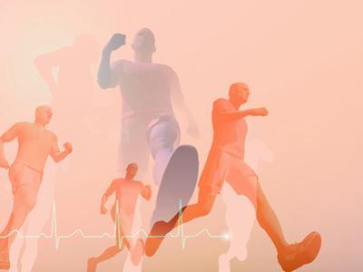 Runners with Ekg by Carol & Mike Werner