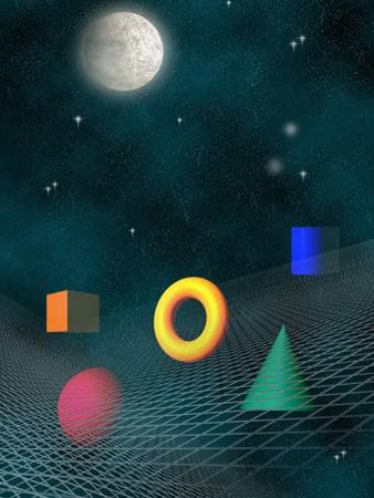 Space Background with Geometric Shapes by Carol & Mike Werner