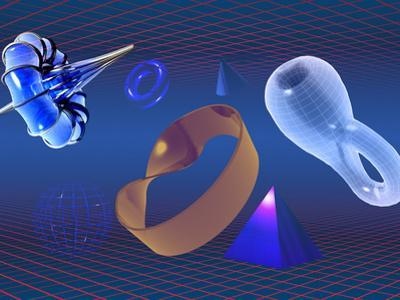 The Shapes of Mathematics, Breather, Torus, Cone, Klein Bottle, Pyramid, Mobius Strip and Sphere by Carol & Mike Werner