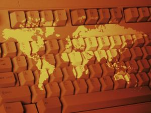 World Map Projected on Computer Keyboard by Carol & Mike Werner