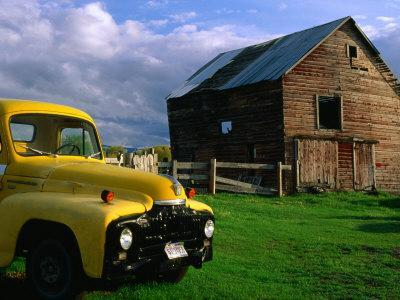 Old Barn and Yellow Pick-Up Truck in Montana, Montana, USA