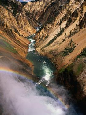 Overhead of Valley and River from Brink of Waterfall, Yellowstone National Park, USA by Carol Polich