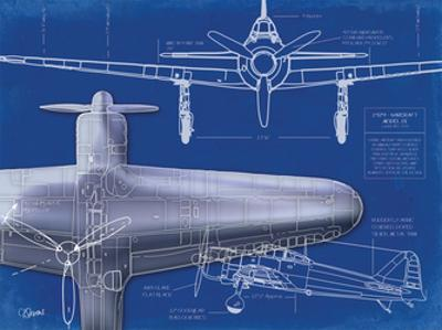 Airplane Blueprint 1 by Carole Stevens