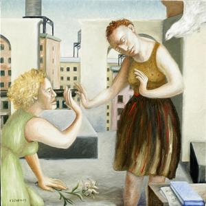Rooftop Annunciation, 1 (Two Women) 2006 by Caroline Jennings