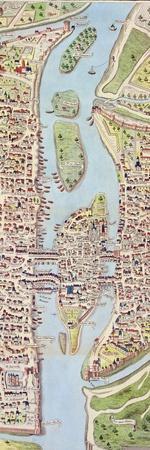 Detail of the Ile De La Cité, from the Map of Paris C. 1540, known as the 'Plan De La…