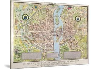 Plan de La Tapisserie, Map of Paris, Originally a Tapestry Made in circa 1570, 1818 by Caroline Naudet