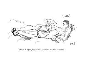 """When did you first realize you were really a woman?"" - New Yorker Cartoon by Carolita Johnson"