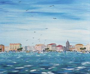 Sea Scene with Houses, 1995 by Carolyn Hubbard-Ford