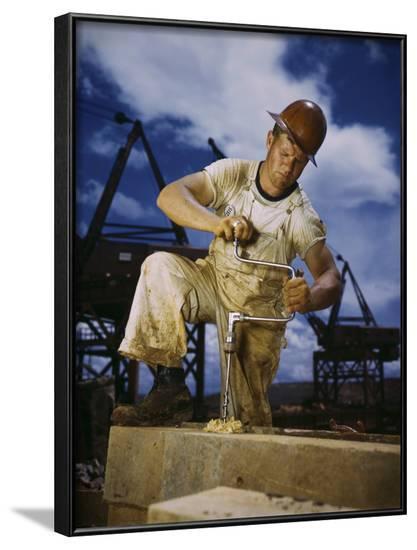 Carpenter at Work on Douglas Dam, Tennessee--Framed Photographic Print