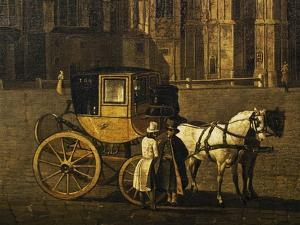 Carriage in Stephandom Square in Vienna, Painting by Anton De Pain, Austria, 19th Century