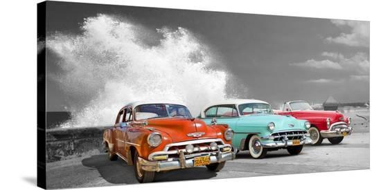Cars in Avenida de Maceo, Havana, Cuba (BW)-Pangea Images-Stretched Canvas Print