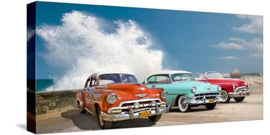 Cars in Avenida de Maceo, Havana, Cuba-Pangea Images-Stretched Canvas Print