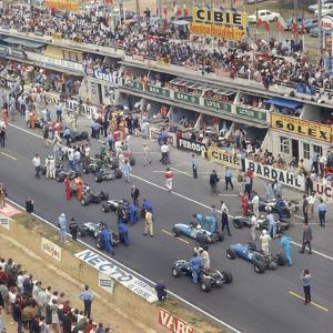 Cars Lining Up on the Starting Grid, French Grand Prix, Le Mans, France, 1967