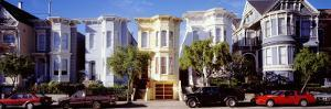 Cars Parked in Front of Victorian Houses, San Francisco, California, USA