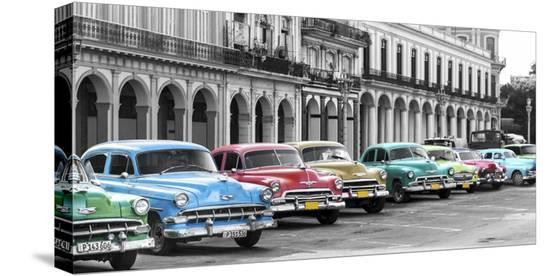 Cars parked in line, Havana, Cuba-Pangea Images-Stretched Canvas