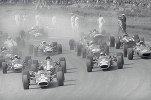Cars Racing in a Grand Prix