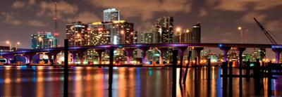 Night View of the Miami Skyline by Carsten Reisinger