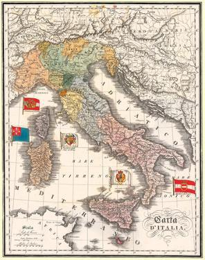 Carta D' Italia (Map of Italy) - Antique Style Italian Map Poster