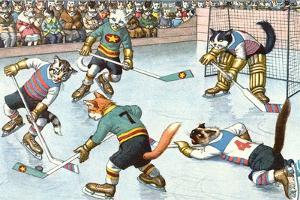Cartoon Cats Playing Ice Hockey