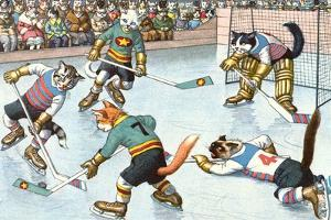 Cartoon Cats Playing Ice Hockey