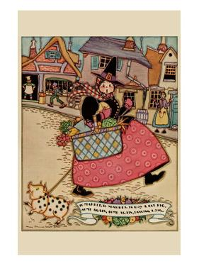 Cartoon Character Walks Thru an Old Town Carrying a Basket of Produce