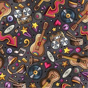 Cartoon Hand-Drawn Musical Instruments Seamless Pattern. Lots of Music Symbols, Objects and Element