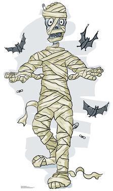 Cartoon Mummy & Bats Cardboard Cutout