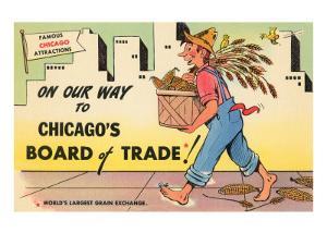 Cartoon of Chicago Board of Trade, Chicago, Illinois