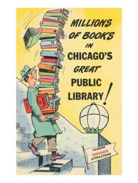 Cartoon of Man with Stack of Books for Chicago Library, Chicago, Illinois