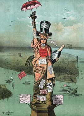 Cartoon, Statue of Liberty with Advertising