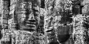 Carved stone faces in the Khmer temple of Bayon, Siem Reap, Cambodia
