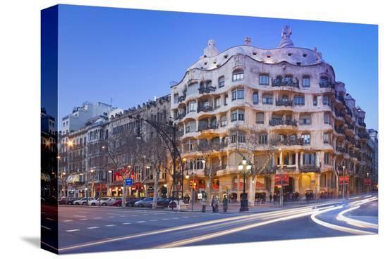 Casa Mila La Pedrera at Passeig de Gracia, Barcelona, Catalonia, Spain--Stretched Canvas Print