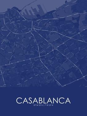 Casablanca, Morocco Blue Map