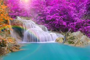 Wonderful Waterfall with Rainbows in Deep Forest at National Par by casanowe