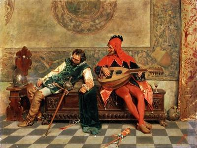 Drunk Warrior and Court Jester, Italian Painting of 19th Century