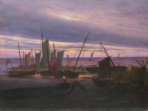 Boats in the Harbour at Evening, C. 1828 by Caspar David Friedrich