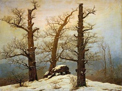 Megalithic cairn in the snow by Caspar David Friedrich
