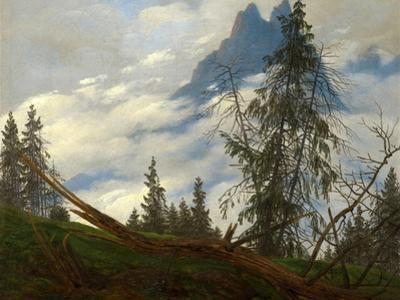 Mountain Peak with Drifting Clouds by Caspar David Friedrich