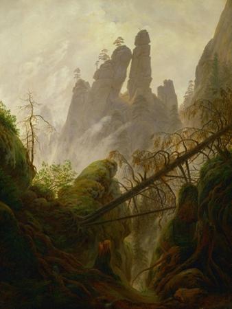 Rocky landscape in the Elbsandsteingebirge, 1822 / 23. Canvas, 97 x 74 cm Inv. 2589. by Caspar David Friedrich
