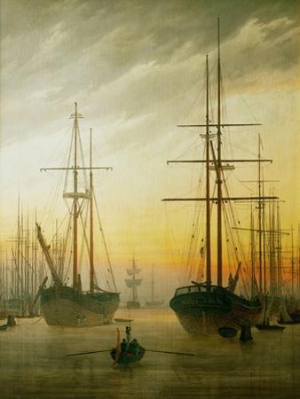 Ships in the harbour by Caspar David Friedrich