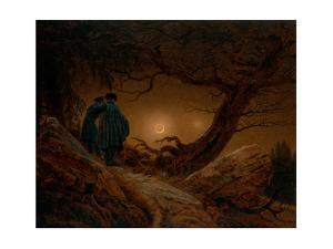 Two Men Contemplating the Moon, Ca 1820 by Caspar David Friedrich