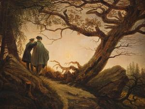 Two Men in the Consideration of the Moon; Zwei Manner in Betrachtung Des Mondes, C.1830 by Caspar David Friedrich