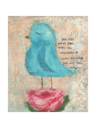 Blue Bird, Pink Flower