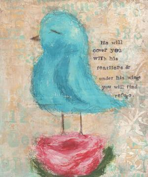 Blue Bird, Pink Flower by Cassandra Cushman