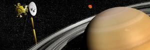 Cassini Spacecraft Orbiting Saturn and And its Moon Titan