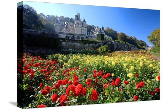 Castle gardens of Chateau d'Usse, Rigny-Usse, Departement Indre-et-Loire, Centre, France--Stretched Canvas Print
