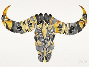Black and Yellow Water Buffalo Skull by Cat Coquillette