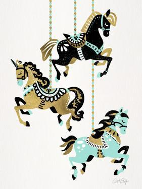 Carousel Horses Mint Gold by Cat Coquillette